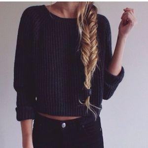 Brandy Melville black boat neck crop sweater
